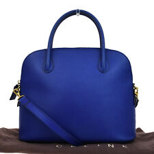Authentic CELINE Logos 2Way Tote Hand Bag Leather Blue Gold Made In Italy 04B600
