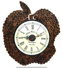 Vintage Wooden Classic Wall Clock Apple Shape Fabulous Creative Bamboo Watch