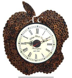 Vintage Wooden Classic Wall Clock Apple Shape Fabulous Creative Bamboo Watch