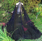 Gothic Queen Chiffon Wedding Wraps Black Cloak Beaded Lace High Neck Bridal Cape