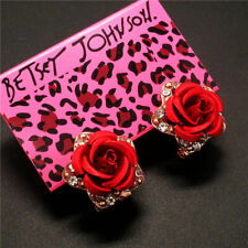 New Betsey Johnson Fashion Elegant Red Rose rhinestone Women's Earring