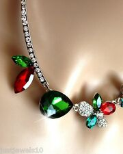 Emerald Green Ruby Red Crystal Necklace Silver Chain Christmas Gifts for her