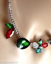 Verde Esmeralda Rubí Cristal Rojo Collar Cadena De Plata Navidad Regalos Para Ella