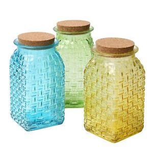 Art & Artifact 3-Piece Glass Basketweave Vase Set - Yellow, Green and Blue Jars