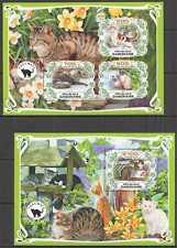 PA0005 2019 GABON CATS DOMESTIC ANIMALS PETS FAUNA BL+KB MNH