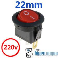Interruptor 220v ROJO REDONDO luz on / off SPDT 125v 250v 230v panel empotrable