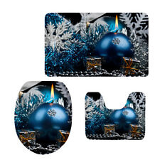 3 PC Toilet Seat Cover Novelty Christmas Holiday Bathroom Mat Snowflake