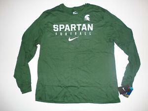 Men's Nike Michigan State Spartans Shirt Long Sleeve Football 2XL XXL New NWT