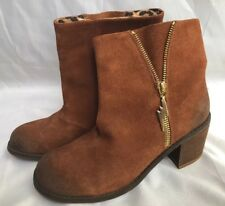 Betsey Johnson Mandda Leather Boot Distressed Brown Suede Size 7M