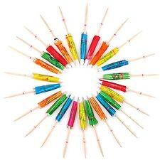 24 Coloured Paper Cocktail Umbrellas Parasols Drink Accessories N3