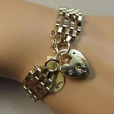 9 ct gold second hand four bar gate bracelet