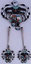 Old HUGE Native American Zuni gem Turquoise inlay sterling Eagle dancer bolo tie