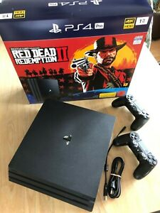 Sony Playstation 4 Pro 1TB (PS4) - Red Ded Redemption 2 Bundle + 2 Controller