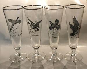 4- VINTAGE Federal Glass Sportsman Pilsner Beer Glasses