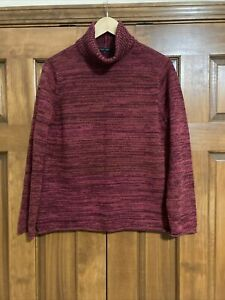 Jeanne Pierre Womens 100% Cotton Turtleneck Marled Burgundy Large L