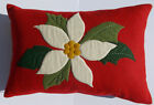 Vintage Red Wool Pillow Christmas Pointsetta Hand Stitching