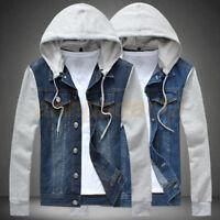 New Men's fashion Denim jacket hooded jacket short casual cowboy jackets coat