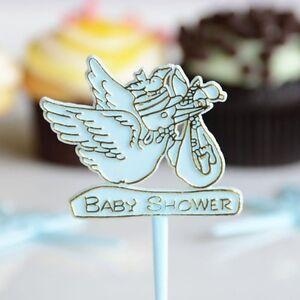 20 Count Blue Stork Baby Cake Cupcake Pick Baby Shower Pick Boy Gender Reveal