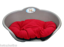 SMALL Plastic SILVER / GREY Pet Bed With RED Cushion Dog Cat Sleep Basket