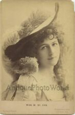 Beautiful Victorian actress St. Cyr in amazing feather hat antique cabinet photo