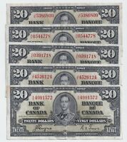 1937 $20 Canada Bank Note Coyne Towers VF Very Fine