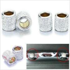 4 X Silver Diamond Bling Crystal Car Headrest Collar Interior Decor Cylindrical