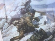 More details for rare military falklands framed print and uj flag - royal signals gordon mather