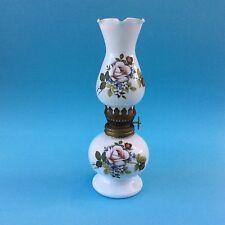 VINTAGE OIL LAMP PINK ROSES MOTIF Milk Glass Font Funnel Shade Decorative Beauty