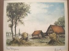 "Belgium Landscape lithograph Reproduction ""Les Dizeaux by Heiny Framed & Matted"