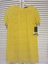 NEW ZARA YELLOW GUIPURE LACE DRESS WITH BACK BUTTONS M Ref.7901/026 BLOGGERS FAV