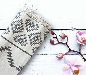 100% Cotton, Turkish Peshtemal Bath and Beach Towel Aztec  Style Throw CHARCOAL