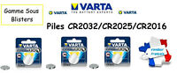 Piles boutons Varta 3V Lithium CR2032/CR2025/CR2016, Qualité Professionnelle