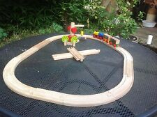 WOODEN TRAIN SET WITH TRACKS & CRANE & ACCESSORIES - 23pcs