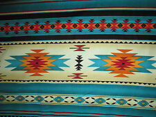 Navajo Native American Teal Gold Border Print Cotton Fabric BTHY