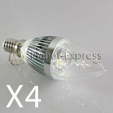 4 x Bombilla 3W LED E14 Vela Blanco Calido Color Plata 220V equiv. 25W 30W
