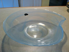 ARTE MURANO LAVORAZIONE Art Glass Large Sky Blue Opalescent Bowl Made in Italy!