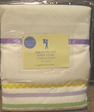 Pottery Barn Kids Ric Rac Ribbon Twin DUVET COVER Lavender green yellow NEW