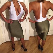 Connie's Two Tone Semi Sheer White Halter Top Mini dress w/ Olive Green skirt S