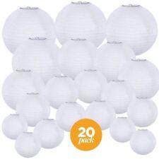 Chinese Lanterns White Paper Round Assorted Sizes Wedding Party Hanging Decor