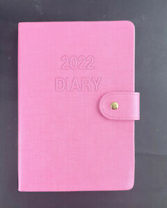 2022 Diary A5 Day To Page PU Cover w Clasp Diary Day Opening-PINK