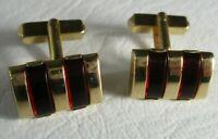 Vintage SWANK Gold Tone Ruby Red Lucite Stripe Cufflinks