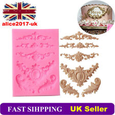 Baroque Sculpted Flower Lace Silicone Fondant Mould Cake Icing Mold Sugarcraft