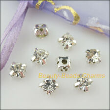 15Pcs Loose Crystal Handmade Sew on Claw Rhinestone White Silver Plated 8mm