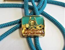Vtg Bolo Tie - Alaska Gold Mining - Turquoise & Gold Color - Santa Claus House!