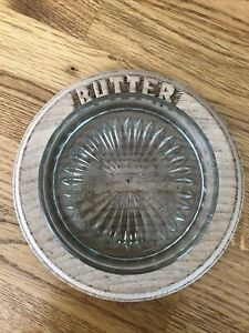 Vintage Carved Wooden Butter Dish with Glass Liner Kitchenware Kitchenalia