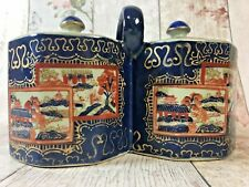 Vintage Ironstone Double Tea Caddy Blues Reds Golds