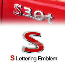 Chrome Metal Red Tuning S Logo Lettering Emblem Badge 1EA for All Vehicle