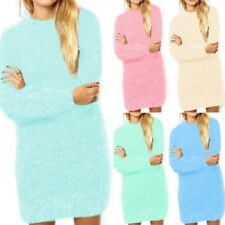Women Long Sleeve Fluffy Sweater Furry Bodycon Dress Pullover Long Tops Blouse