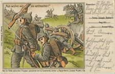 German WW1 Patriotic Postcard Advancing Soldiers Cavalry Artillery 1915 (561)