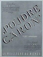 PUBLICITE CARON POUDRE PEAU FINE COLORIS ORIENT PERLE NACREE DE 1954 FRENCH AD